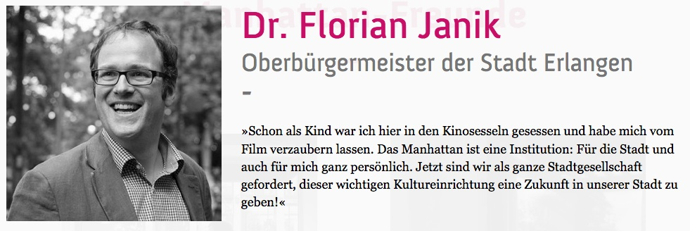 Erlangens Oberbürgermeister Dr. Florian Janik auf manhattan-freund.de